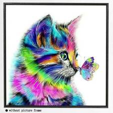 5D Diamond Painting Kit Cat Butterfly Crystal Pictures Art Craft Wall Home Decor