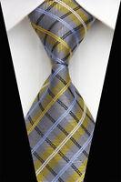 AS0467 Gray Yellow Floral Classic Elegant Woven 100%Silk Necktie Man's Tie