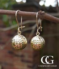 Fine 9ct Gold Diamond Cut Ball Drop Earrings in Yellow or Rose