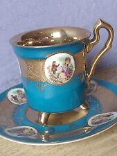 Vintage Blue and Gold Fragonard Love Story footed Japan porcelain tea cup teacup