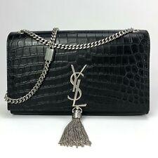 NEW YVES SAINT LAURENT Kate Black Crocodile Print Monogram Tassel Shoulder Bag