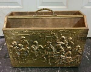 Sculptured Brass Covered Wood 2 Tier Magazine Rack Case Stand Holder Vintage