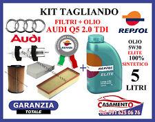 KIT TAGLIANDO OLIO MOTORE REPSOL 5W30 5LT + FILTRI AUDI Q5 2.0 TDI 120 KW