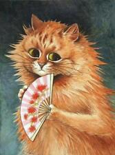 GINGER CAT, CHAT, KATZE, WITH PINK FAN, LOUIS WAIN, FRIDGE MAGNET
