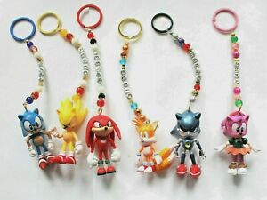 Personalised Sonic the Hedgehog  keyring / bag charm (you chose a name) 6 styles