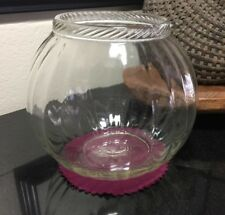 """Sellers / Hoosier Cabinet Ribbed Jar Rope Edge 8"""" Glass Round Canister Pat. 1924"""