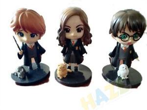 3pcs/set Movie Harry Potter Hermione Ron Weasley PVC  Figure Toy 9cm