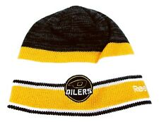Edmonton Oilers Reebok C6081Z NHL HockeyTeam Logo Striped Knit Hat Beanie Toque