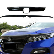 For 2018-2020 Honda Accord Front Grill Molding Trim + Eyelid Cover Gloss Black