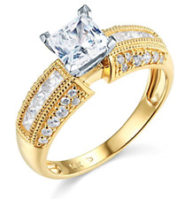 2.25 Ct Princess & Round Cut Engagement Wedding Ring Solid 14K Yellow Gold