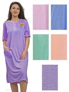Ladies Nightdress Nightgown Short Sleeve Cotton Rich Floral PJ Nightie Nightwear