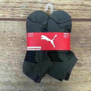 Puma Mens Size 10-13 Grey/Navy Cushioned Low Cut Socks 6 Pairs NWT