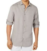 INC Mens Dress Shirt Gray Size Medium M Button Down Longsleeve Roll-Tab $69 #109