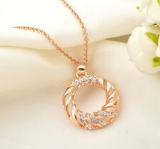 18K Rose Gold Filled Lucky Ring Fashion Pendant Necklace With SWAROVSKI Crystal