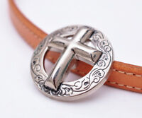 "10PC 1-3/8"" Western Silver Christian Cross Engraved Saddles Leathercraft Conchos"