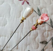 Hat Pin Vintage Insp. Carved Lily & Pearl, Gold Antique Silver, Strong & Sharp