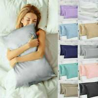 Luxurious Soft Mulberry Pure Silk Blend Pillowcase Covers Queen Pillow Case New