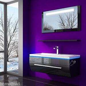Badmöbel Set  Günstig Kaufen 60 cm Schwarz Lackiert Komplett Hochglanz 4 Teilig