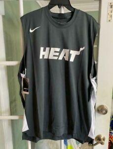 Nike NBA Miami Heat Dri-Fit Gray Cut-Off Shirt Basketball AV0967-060 Size XL