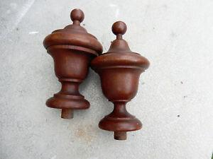 """Pair Victorian Walnut Finials 6"""" Tall"""