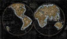 Russel brennan: The World EN DORADO Imagen TERMINADA 60x100 Mural Mapamundi