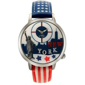 Orologio Donna BRACCIALINI TUA 144/AAR New York Pelle Blu Bianco Rosso 3D
