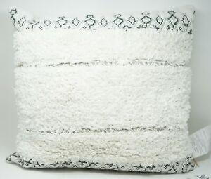 """Sky Tufted Moroccan 20"""" Embroidered 100% Cotton Decorative Throw Pillow - White"""