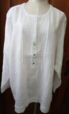J.jill Linen Pintucked Shirt 4x White
