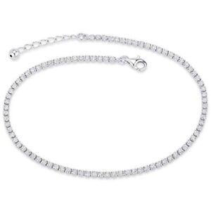 Women's Sterling Silver Cubic Zirconia Anklet Bracelet Adjustable Tennis Anklet