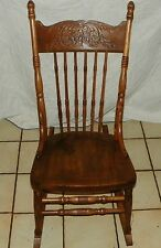 Elm Carved Sewing Rocker / Rocking Chair  (R160)