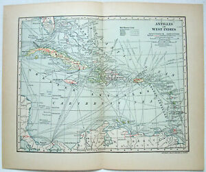 Original 1902 Dated Map of The West Indies by Dodd Mead & Co. Antique