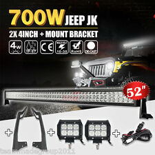 "52 inch 700W Combo+4"" 18W LED Lights Bar+Mount Brackets Fit For Jeep Wrangler JK"