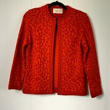 Vintage Catalina Jacquard California Usa Red Orange Floral Sweater Cardigan 36 S