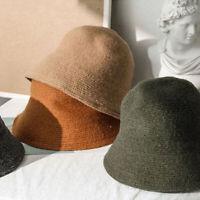Women's Bucket Hat Felt Wool Hat Autumn And Winter Fur Black Hip  Hop Hat Cap