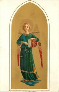 Vintage Italian Art Postcard Sampaolo Beautiful Angel with Drum, Meissner & Buch