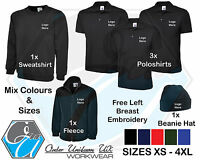 Personalised Embroidered Work Wear Package Sweatshirt  Fleece Polo Shirt Beanie