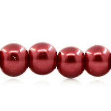 200+ Red Glass Pearls (loose) 4mm