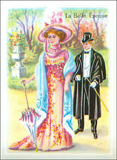 IMAGE CARD Costume Style Belle Epoque Robe Dress Chapeau Hat Suit France 60s