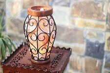Natural Himalayan Salt Lamp Basket Amphora Vase Shape Iron Metal Basket Crystal