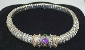 ALWAND VAHAN SIGNED 14K YELLOW GOLD & STERLING SILVER NECKLACE & SLIDE PENDANT