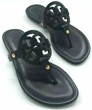 Tory Burch NEW Miller Black Leather Flat Sandals Double T Logo SZ:9