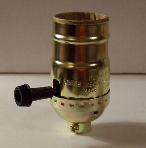 3-Way Turn Knob Lamp Socket Brass Plated For 3-Way Bulb NEW 30606J