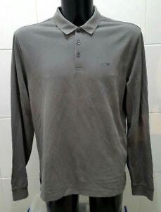 NEW Armani Jeans Grigio Scuro Long Sleeve Polo Shirt, Green - XXL