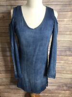 Anthropologie Cloth And Stone Sz XS Blue Cold Shoulder Long Sleeve Dress