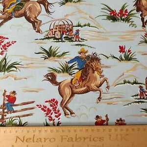 Barn Dandys cowboy fabric sky blue by Robert Kaufman