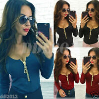 Sexy Women Long Sleeve Zipper V Neck Casual Shirt T-shirt Top Blouse Cotton
