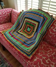 VINTAGE Granny Hand Crochet Afghan Throw Blanket Multicolor Hippie Boho