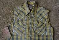 TRUE RELIGION Plaid Straw MICK Shirt M NWT$148 Western Pearl Snap!CUT-OFF SLEEVE