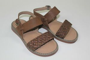 Hanna Andersson Brown Glitter Woven Strap Sandals Summer Toddler Girls Size 11