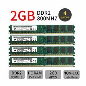 8GB 4x 2GB DDR2 800MHz PC2-6400U 240Pin DIMM Desktop Memory SDRAM Micron ZT BT